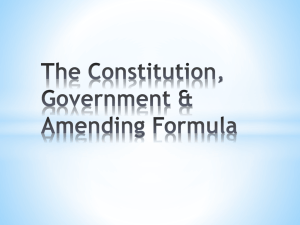 Levels of Government, The Constitution & Amending Formula
