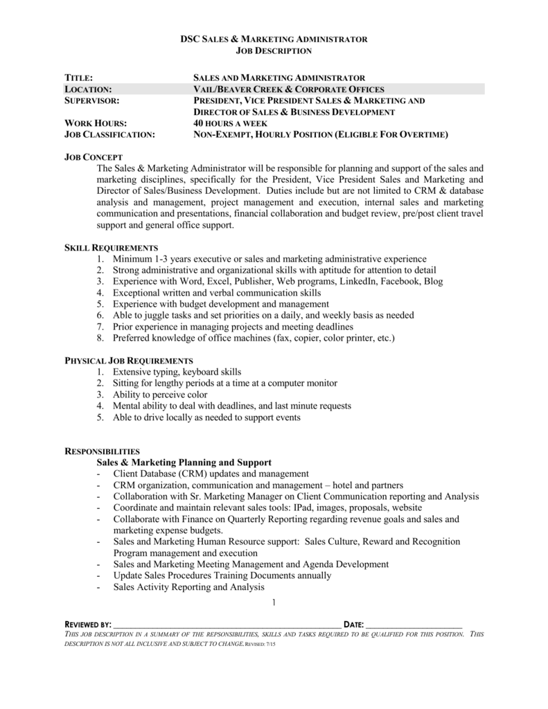sales and marketing administrator