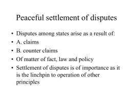 20 Peaceful settlement of disputes