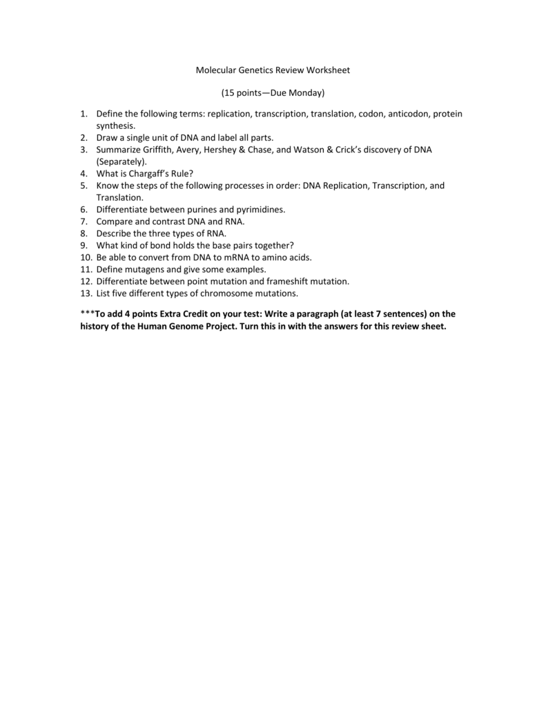 worksheet Genetics Review Worksheet molecular genetics review worksheet 15 monday