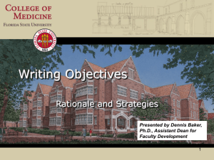 Writing Objectives: Rationale and Strategies