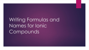 Writing Formulas and Names for Ionic Compounds