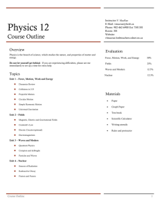 Physics 12 Course Outline