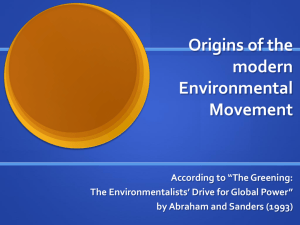 Origins of the Modern Environmental Movement