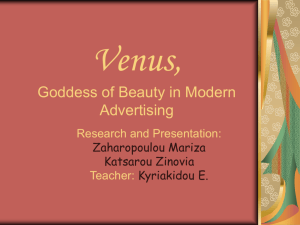 Venus, Goddess of Beauty in Modern Advertising