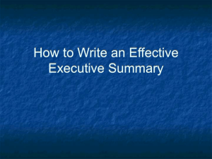 Writing an Effective Executive Summary