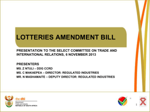 lotteries amendment bill presentation to the select committee on