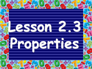 Lesson 2.3 Properties