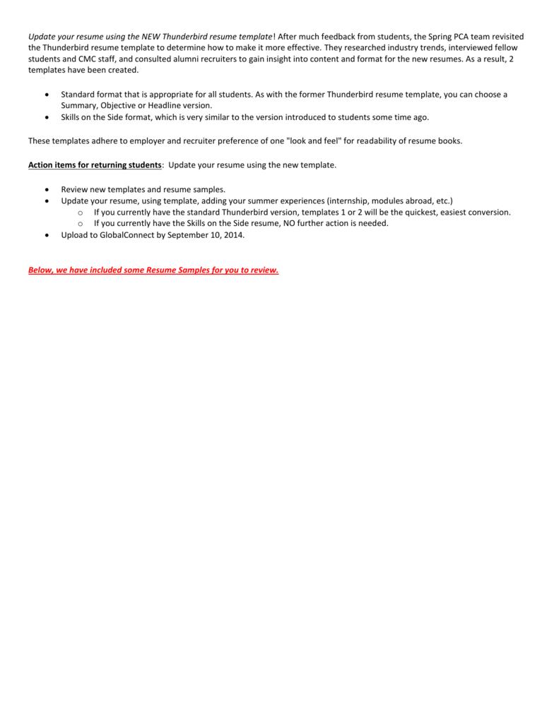 Thunderbird Resume Template Instructions Resume Samples