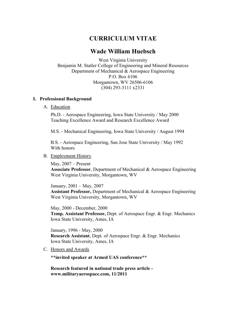 Curriculum Vitae - Statler College of Engineering and Mineral