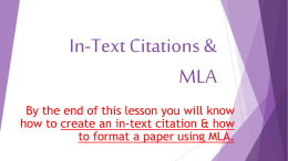 In-Text Citations & MLA