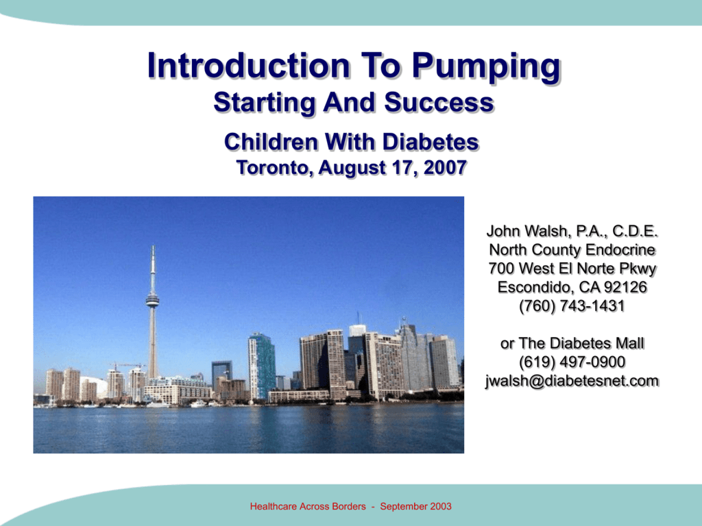 PowerPoint Presentation - Starting on an Insulin Pump, April