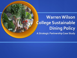 Warren Wilson College Sustainable Dining Policy: A Strategic