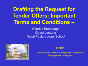 Drafting the Request for Tender Offers