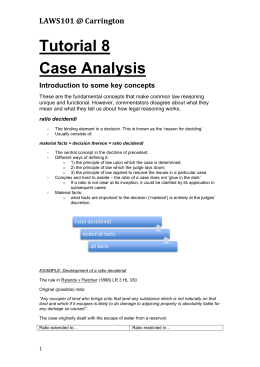 LAWS101 @ Carrington Tutorial 8 Case Analysis