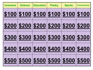Inventors Science Education Poetry Sports Entertainment $100