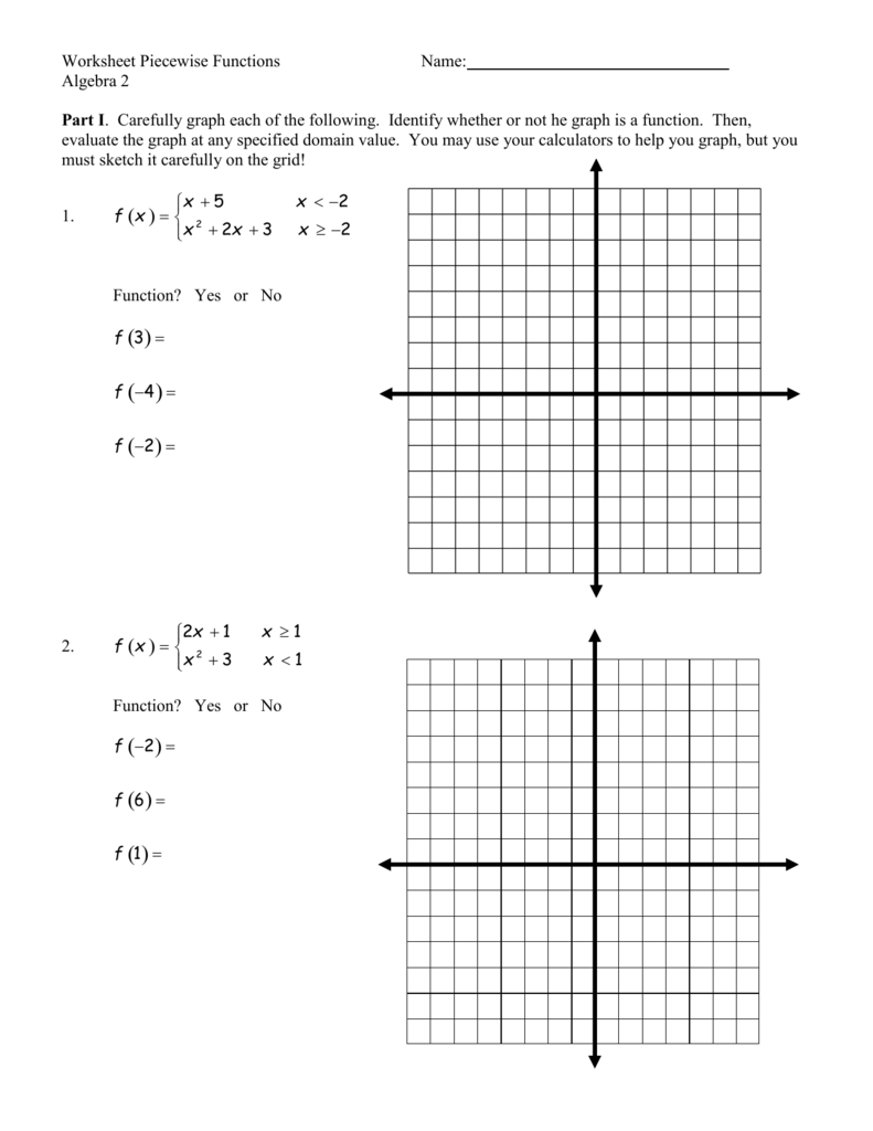 Worksheet Piecewise Functions – Algebra 2 Functions Worksheet