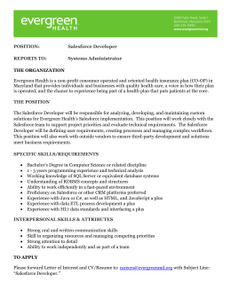 POSITION: Salesforce Developer REPORTS TO: Systems