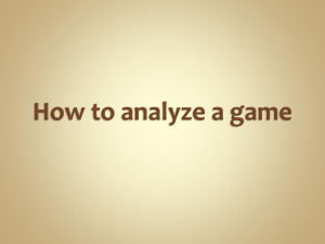 How to analyze a game