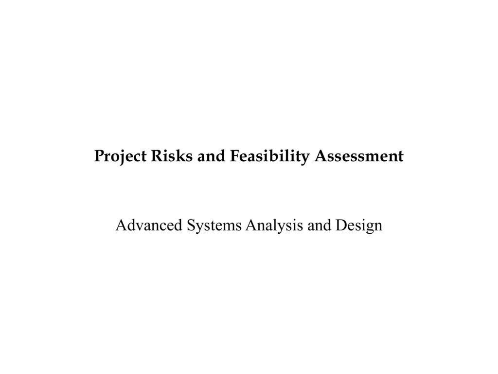Project Risks And Feasibility Assessment