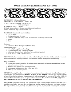 Mythology Syllabus - Mr. Klements' World Lit/Mythology and