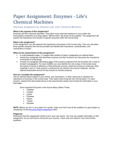 Paper Assignment: Enzymes - Life's Chemical Machines Alternate