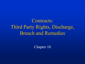 Contracts: Third Party Rights, Discharge, Breach and Remedies