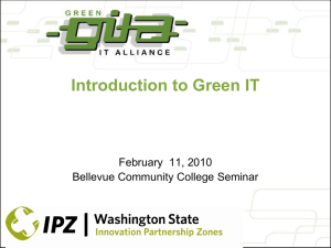 Introduction To Green IT - Center of Excellence for Information and