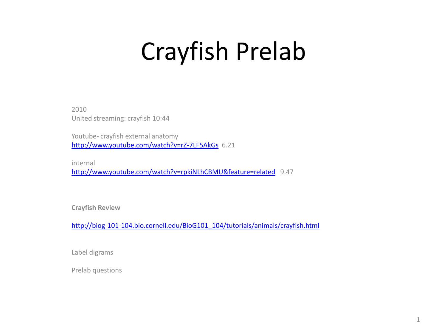 Crayfish prelab power pt