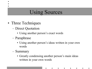when to use quote, paraphrase, or summary?