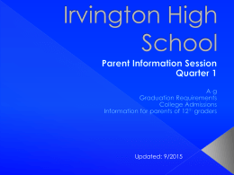 PowerPoint from 1st Quarter Parent Information Session