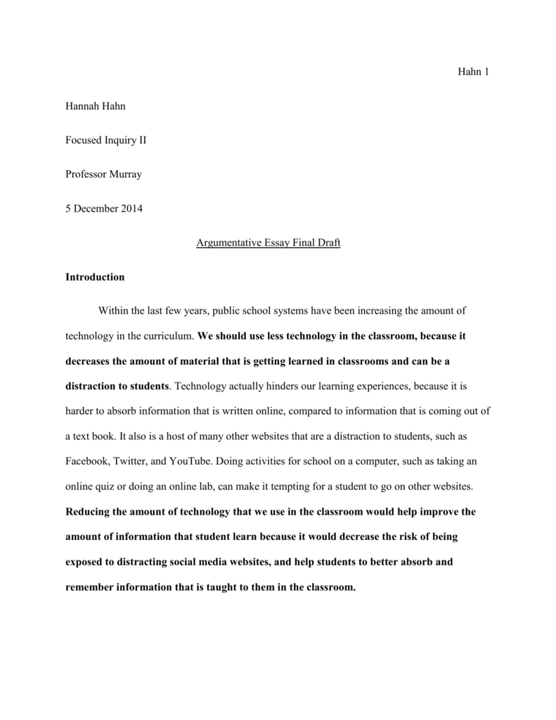 Actual final essay draft use this one