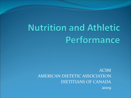ACSM Nutrition and Athletic Performance