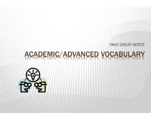 Academic/Advanced Vocabulary