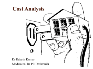 Cost Analysis - Introduction