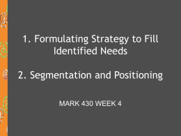 Formulating Strategy to Fill Identified Needs Segmentation and