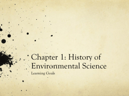 Chapter 1: History of Environmental Science