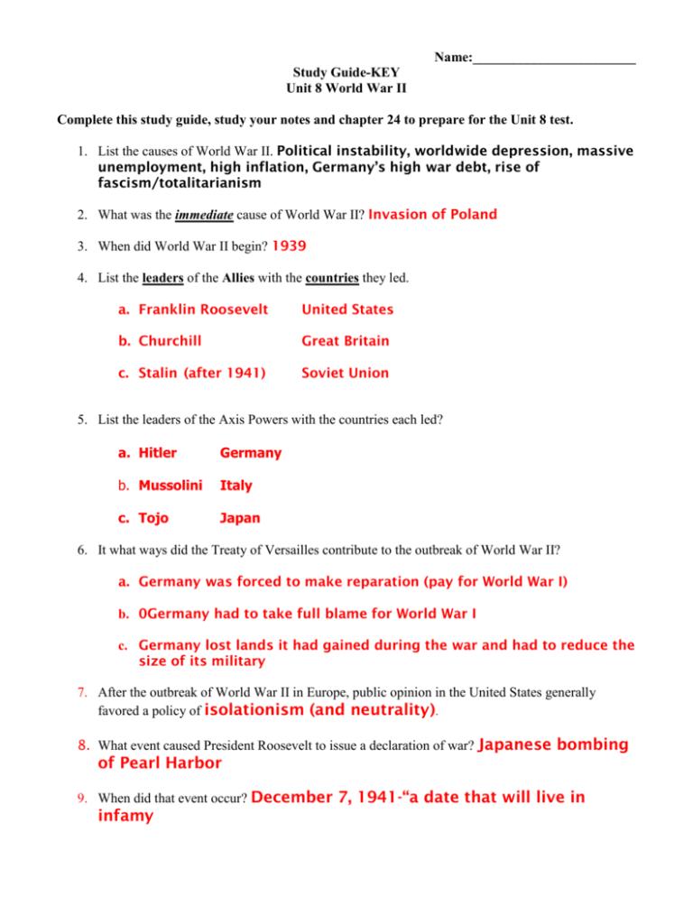 Study Guide Unit Test Key Pams