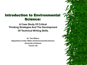 Introduction to Environmental Science: