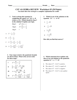 CST ALGEBRA REVIEW Worksheet #1 (20 Points)