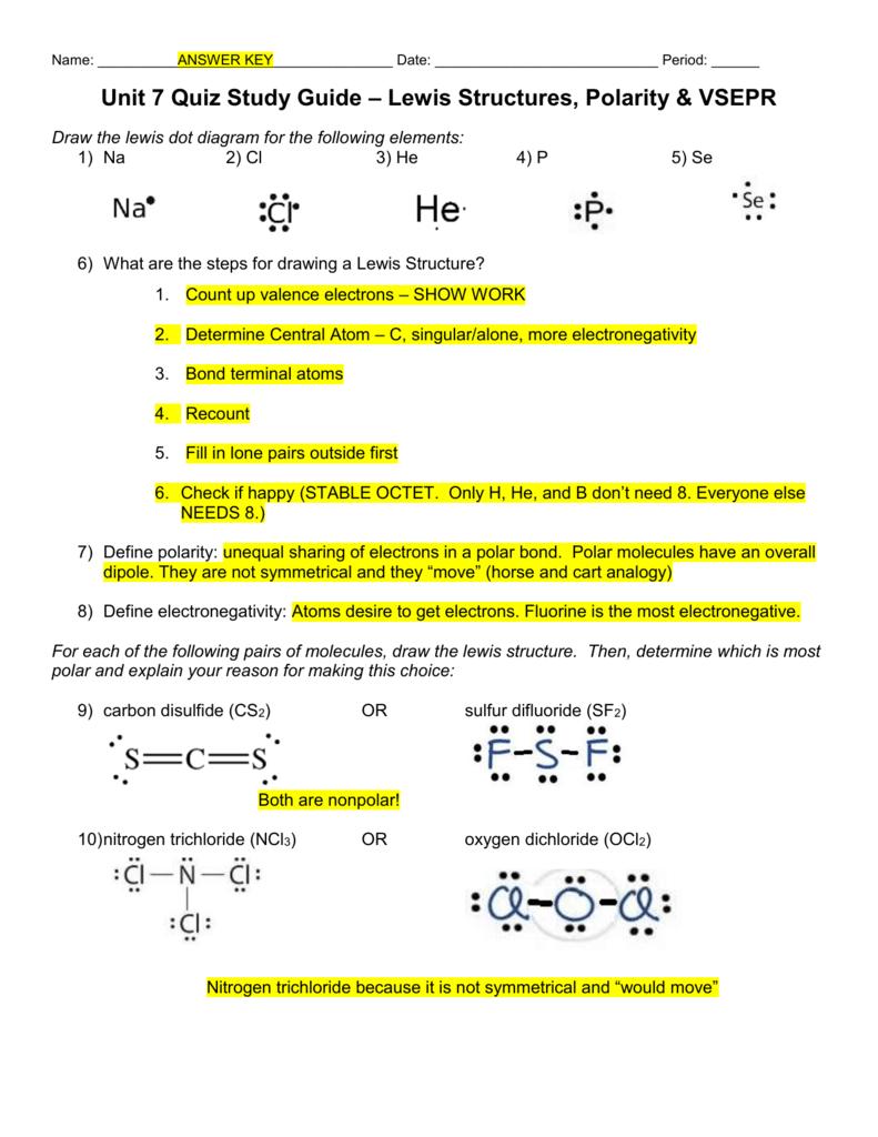 Unit 7 Quiz Study Guide – Lewis Structures, Polarity & VSEPR