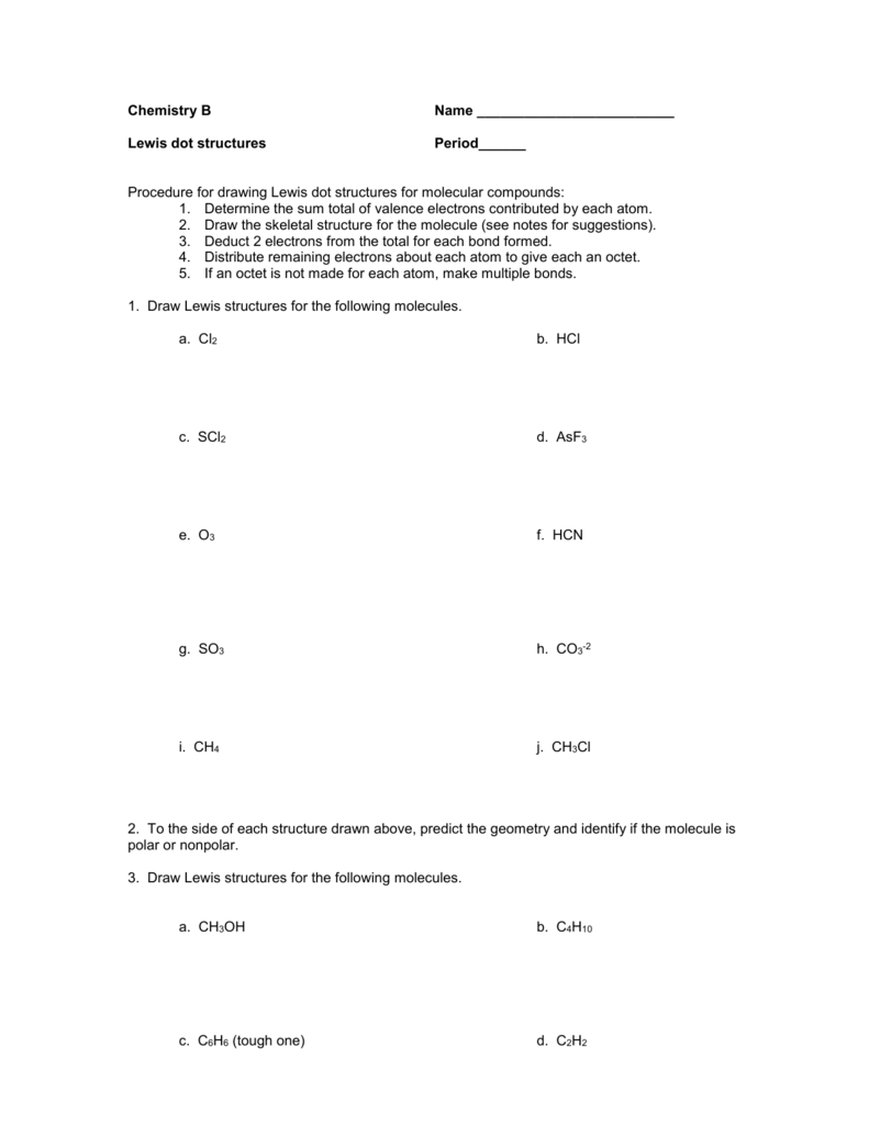 Lewis Structures Practice Within Lewis Structure Practice Worksheet