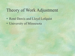 Theory of Work Adjustment