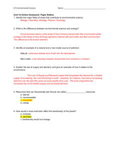 CP Environmental Science Name: Unit 1A Online Homework
