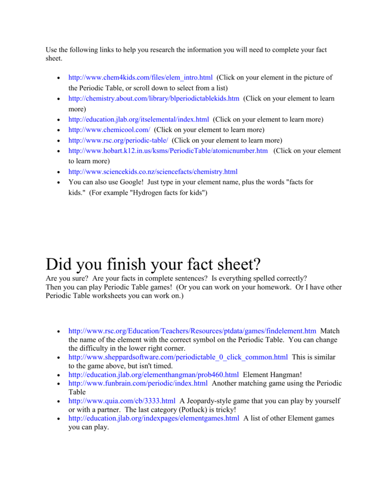 Did You Finish Your Fact Sheet