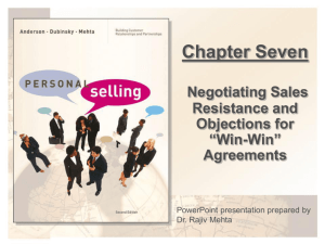 chapter 6. negotiating sales resistance and objections for