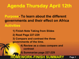 Agenda Thursday April 12th - TeacherMr.Thomas