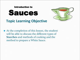 Starches and Sauces PowerPoint