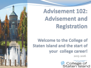 Advisement 102 - College of Staten Island