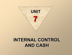 Internal Control and Cash.